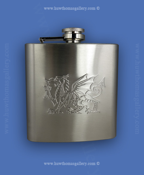 Welsh Dragon Hip Flask 6oz - Stainless Steel