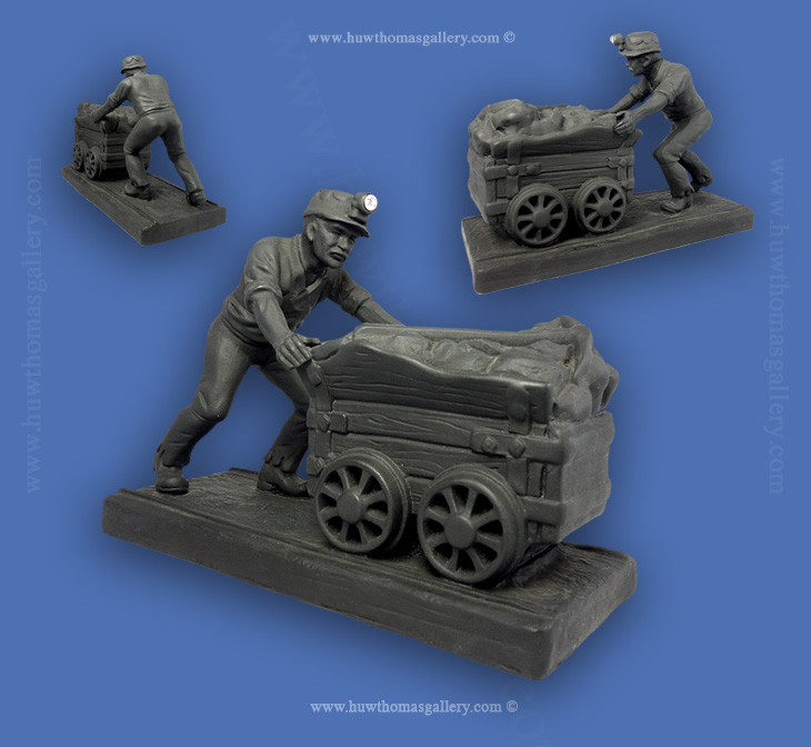 Welsh Coal Figure - Miner Push Coal Truck