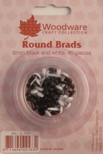 woodware black and white 6mm round brads