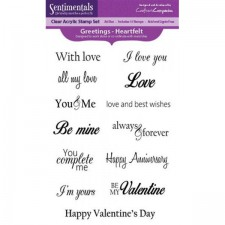 Crafters Companion Sentimentals A6 Clear Photopolymer Stamp - Greetings - Heartfelt