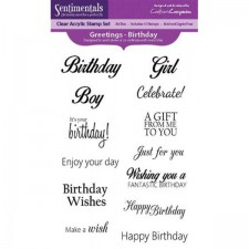 Crafters Companion Sentimentals A6 Clear Photopolymer Stamp - Greetings - Birthday
