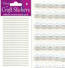 Craft Stickers 3mm x 418 Pearls White