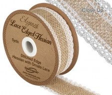 Lace edged hessian 36mm width