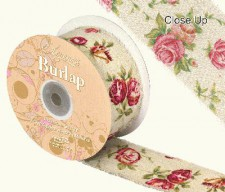 Burlap Frayed Edge Vintage Rose 50mm