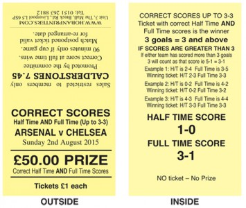 100 Tickets Correct scores at Half Time AND Full Time
