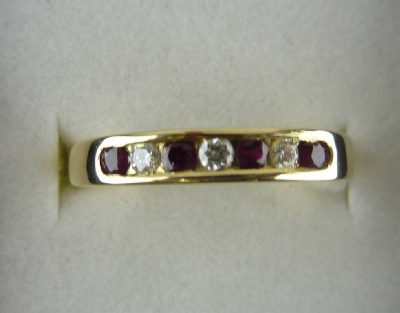 8287 Diamond and Ruby Eternity Ring