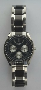 LB0344704 Ladies Rotary black and steel bracelet watch