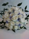 White and blue brides bouquet