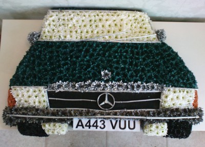 Mercedes Car Custom Funeral Tribute Funeral Flowers Lily White