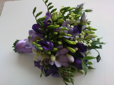 Brides Hand Tied Bouquet Of Freesia Wedding Gallery Lily White