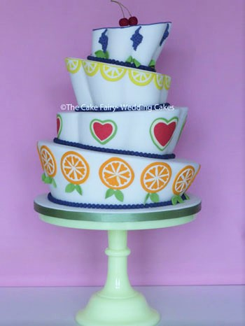 RW70 WONKY TUTTI FRUTTI    A bold Wedding Cake for a fun loving Couple
