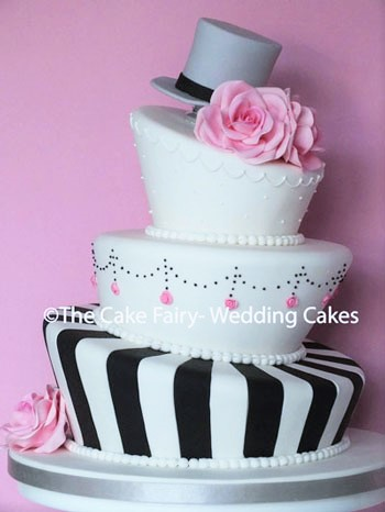 RW75 WONKY CHIC    A striking modern Wedding cake with a twist of elegance