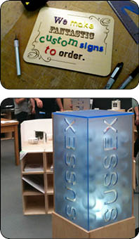 Laser cut display stand for Sussex University