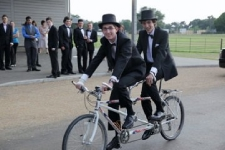 Tandems are available for event hire - This is David and Andrew at their school prom.