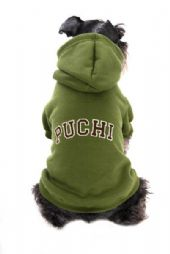 32 army green cuddles dog hoodie