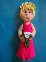 Hot pink bridesmaid Card Topper