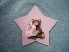 Pink Sleeping Teddy topper
