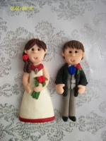 Red & White Bride & Groom Card Toppers