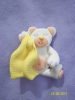 Yellow Blankie White Teddy Card Topper