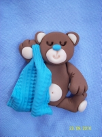 Teddy Bear with Blue Banklie Card Topper