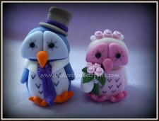Owl Bride & Groom Wedding Cake Topper