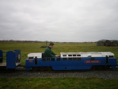 Ruraidh driving the train