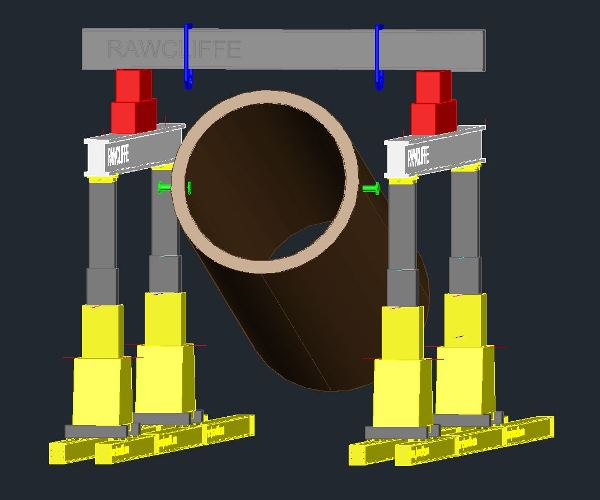 3D model of Hydraulic Gantry Mega Lift System for the lifting of a 101,000kg casing