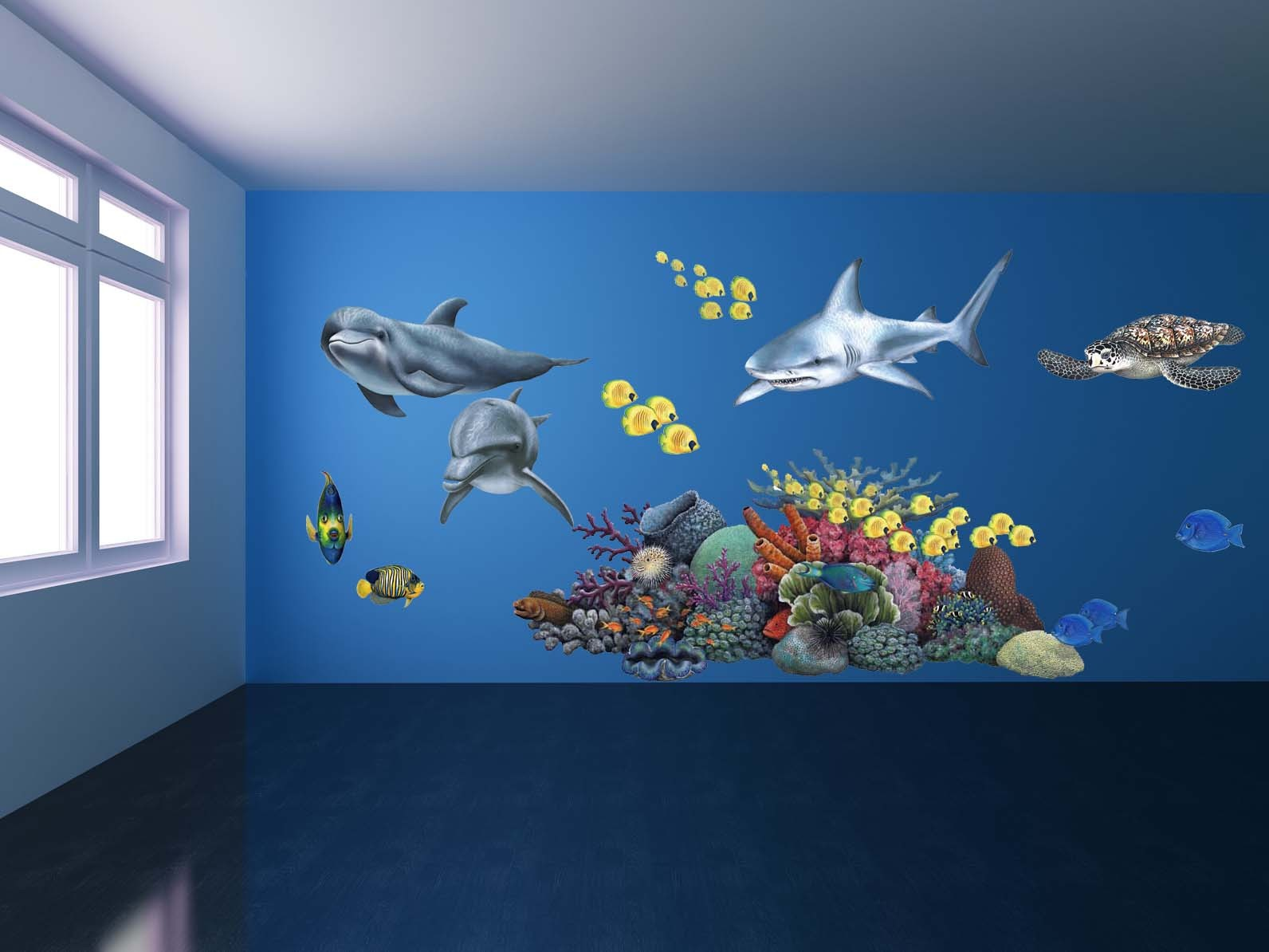 Wall Mural Childrens Bedroom Giant Shark Wall Sticker Giant Animal Decals Fun Decor