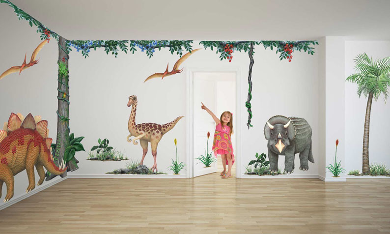 Stegosaurus large wall sticker giant animal decals fun for Dinosaur wall mural uk