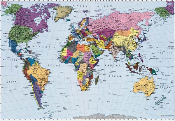 PM-World-4050-C  World map Digital Photo Mural