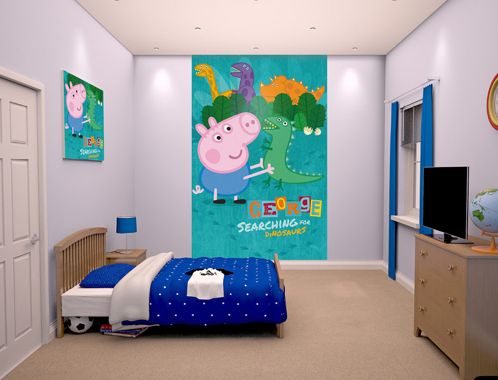 George pig wallpaper mural childrens wallpaper fun decor for George pig bedroom ideas