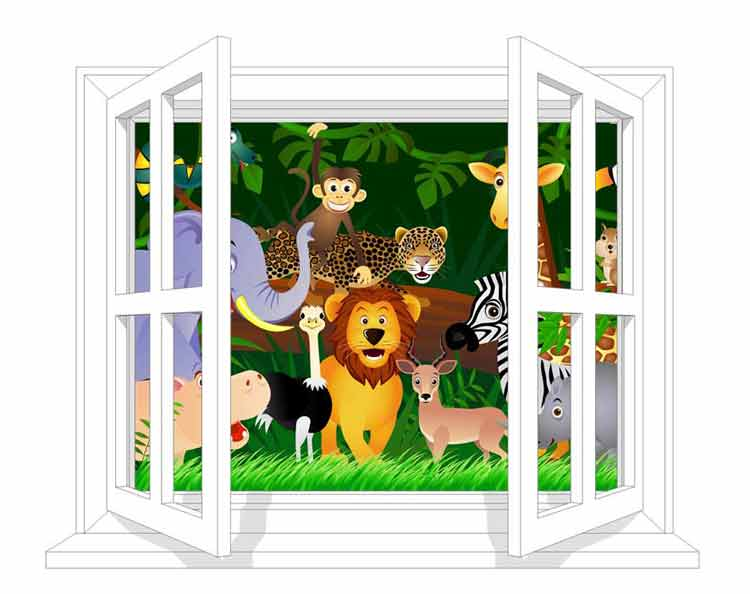 FD-Jungle-W Animals at the window