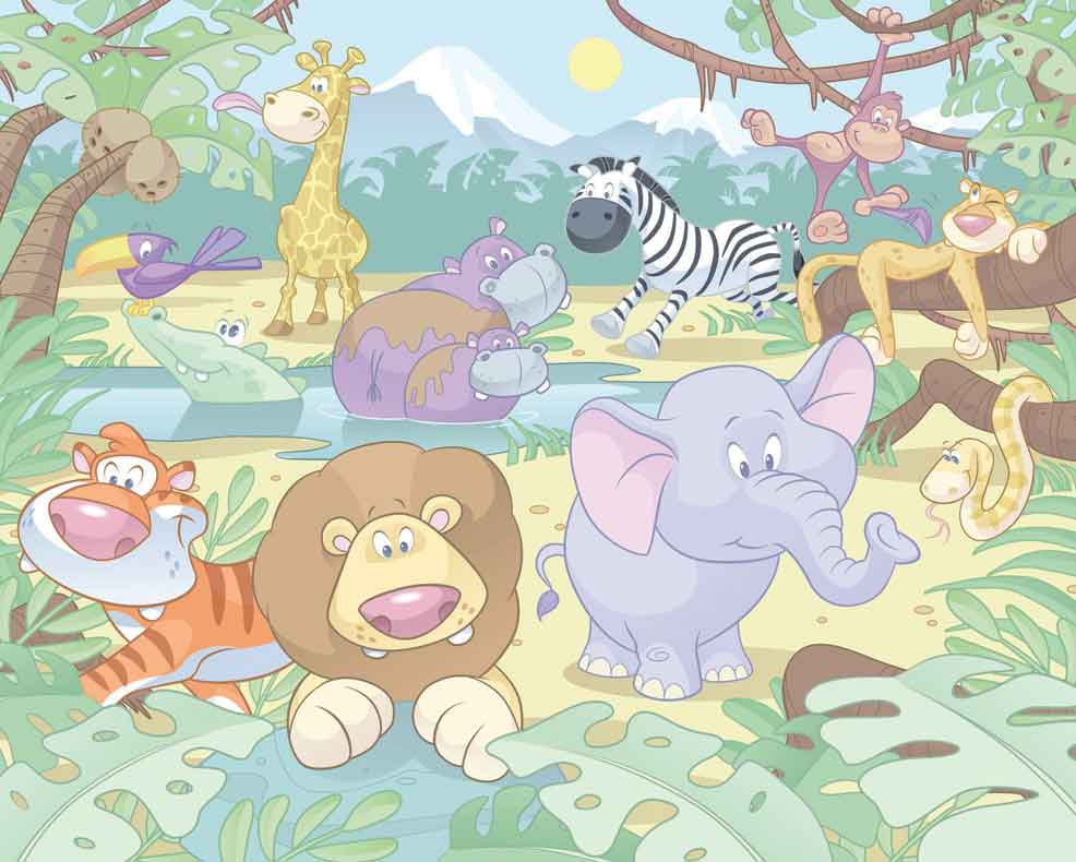 Baby jungle wallpaper mural childrens wallpaper fun decor for Childrens mural wallpaper