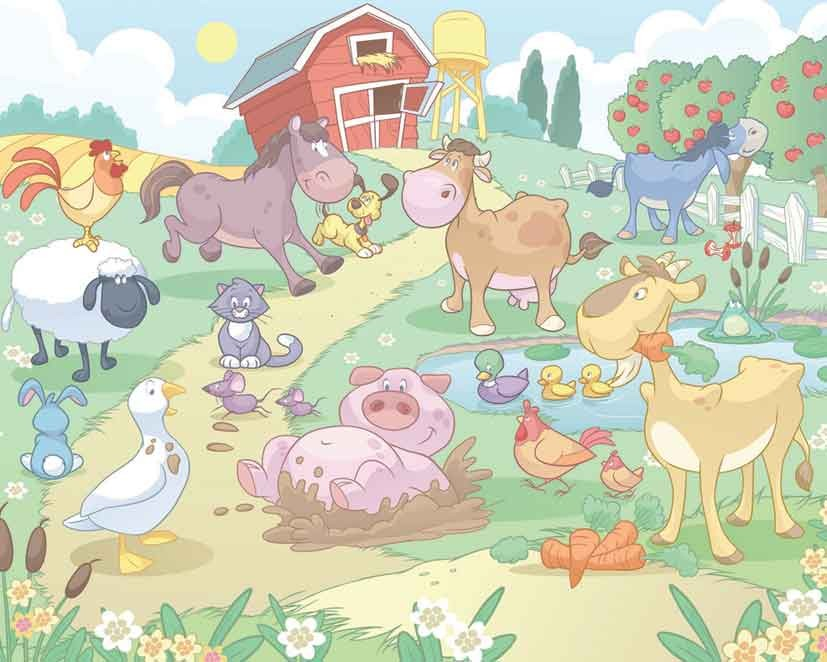 Baby farm animals wallpaper mural childrens wallpaper for Animal mural wallpaper