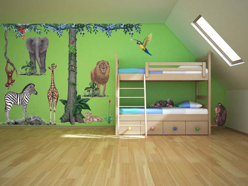 giant jungle animal wall stickers hand drawn wall now available new personalized jungle trail sign to