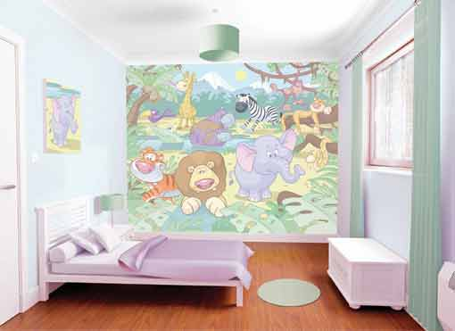Walltastic Baby Jungle Animals wallapper mural
