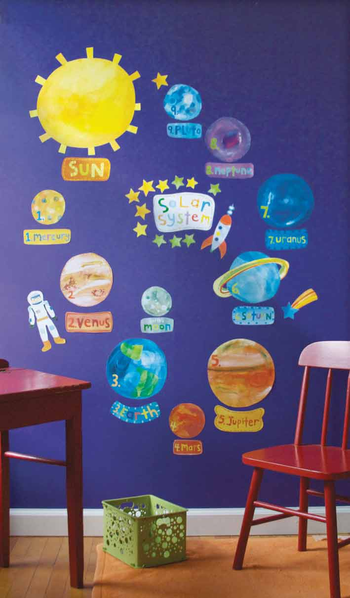 Space theme ideas space decal wall stickers fun for Classroom wall mural ideas