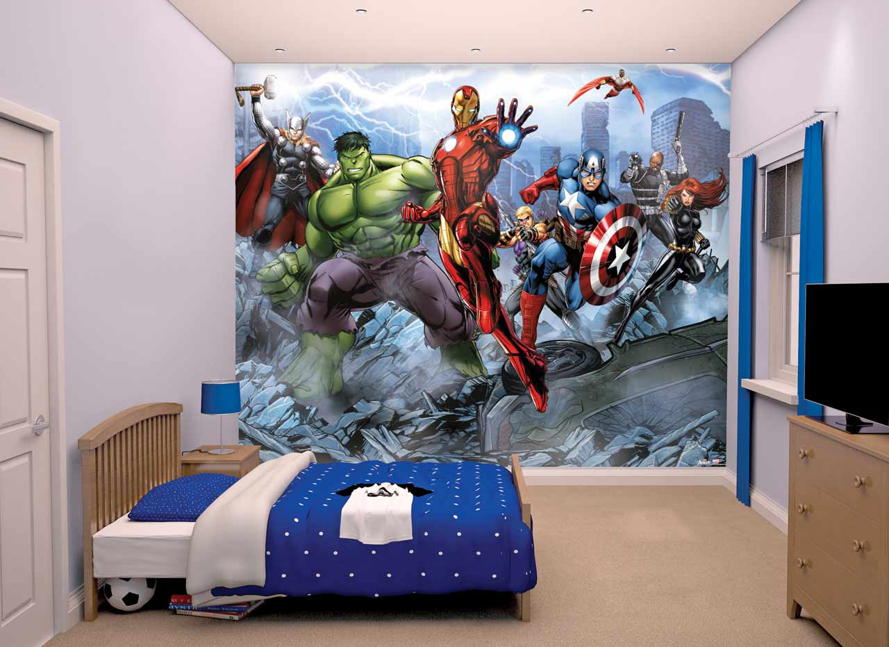 walltastic avengers wallpaper mural childrens wallpaper