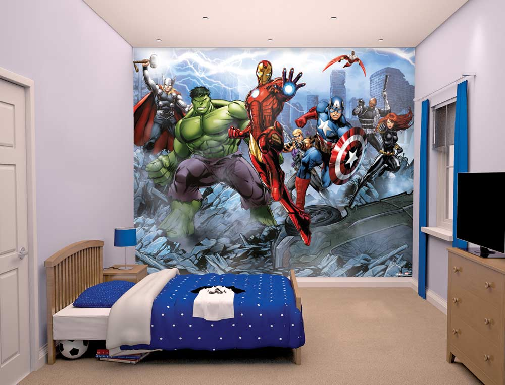 Walltastic avengers wallpaper mural childrens wallpaper for Avengers wall mural uk