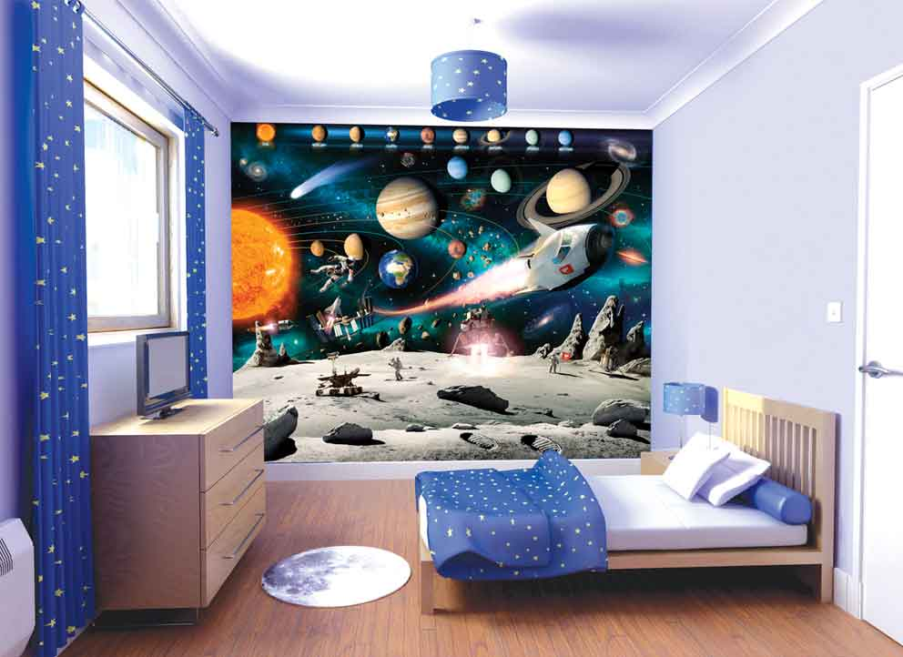 Walltastic Space Adventure Wallpaper Childrens Wallpaper Fun Decor