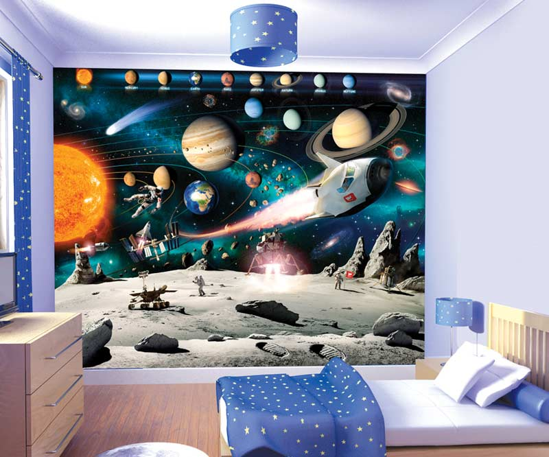 Walltastic space adventure wallpaper childrens wallpaper for Themed bedroom wallpaper
