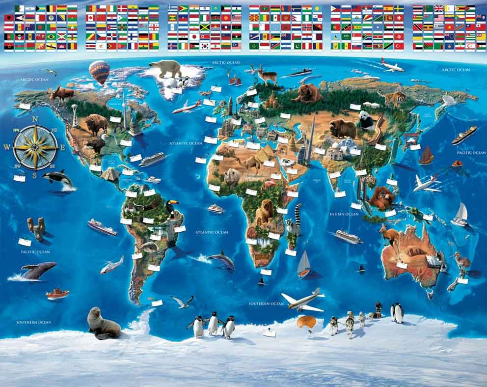 W-World-Map World Map Wallpaper Mural