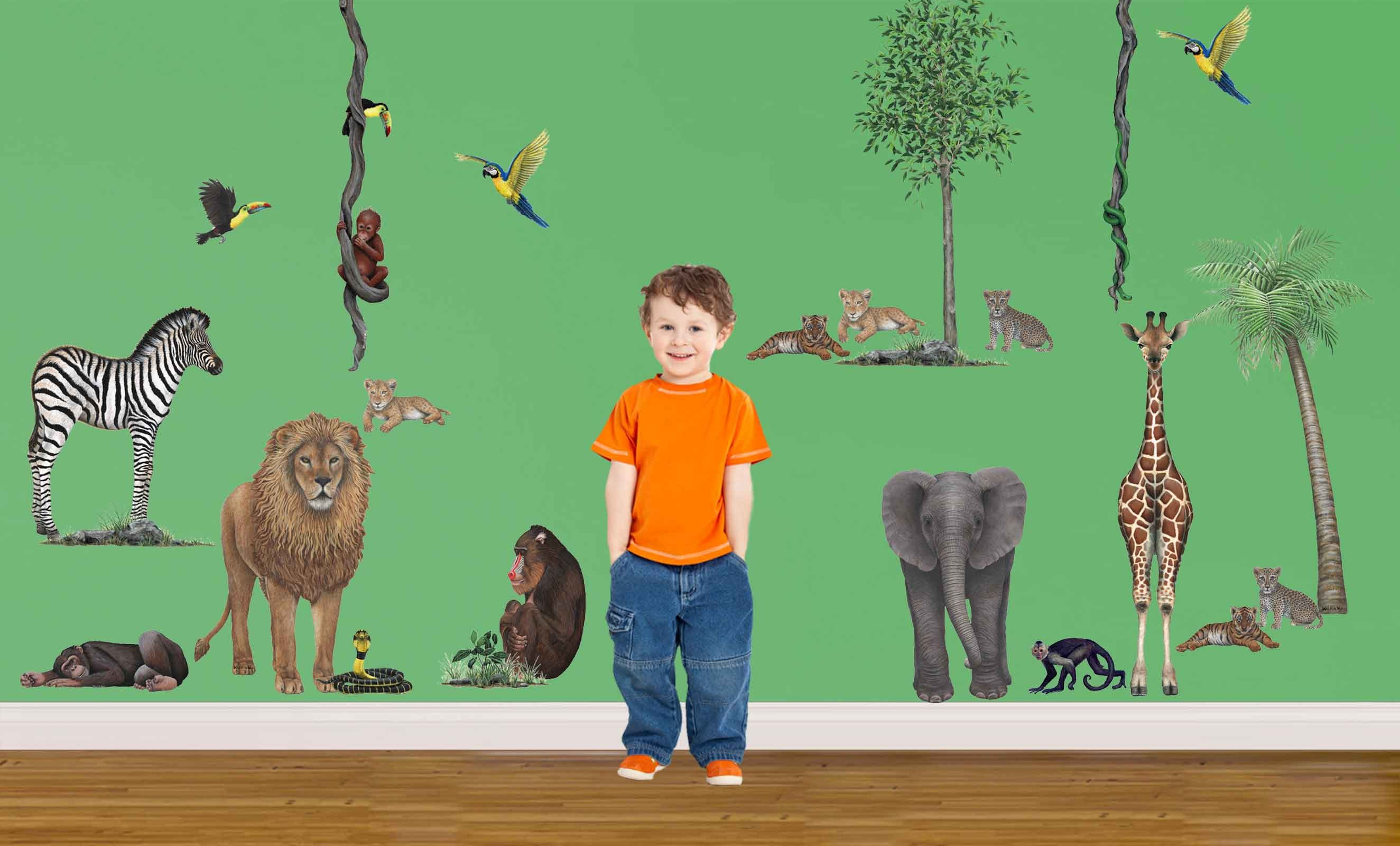 jungle animal wall stickers walltastic jungle themed wallpaper safari sticker set