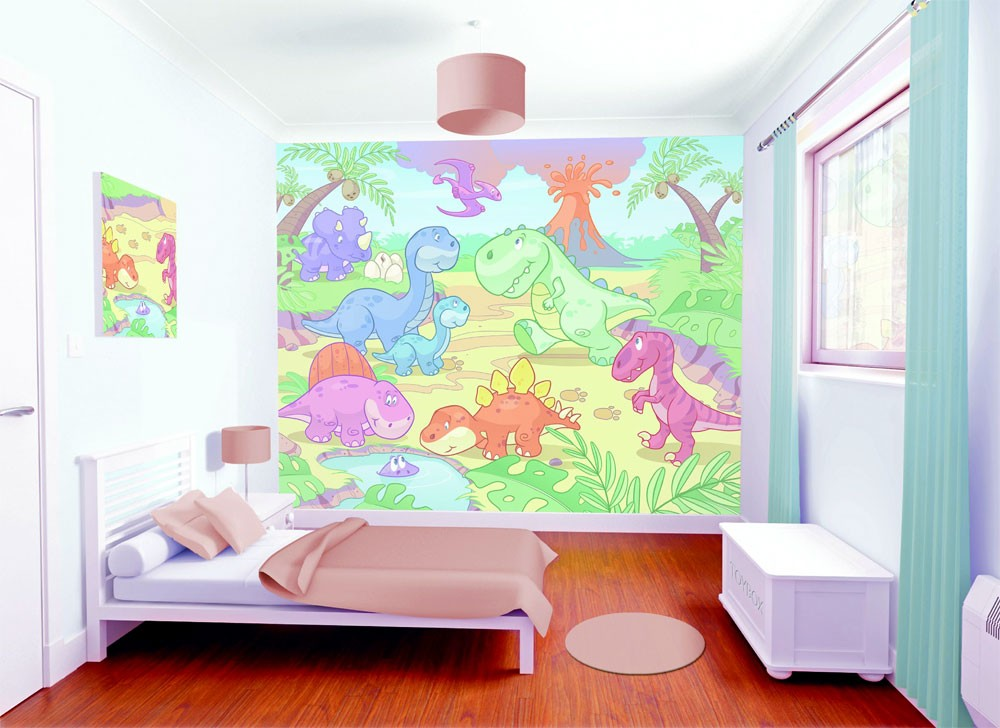 7 Inspiring Kid Room Color Options For Your Little Ones: Giant Dinosaur Wall Stickers