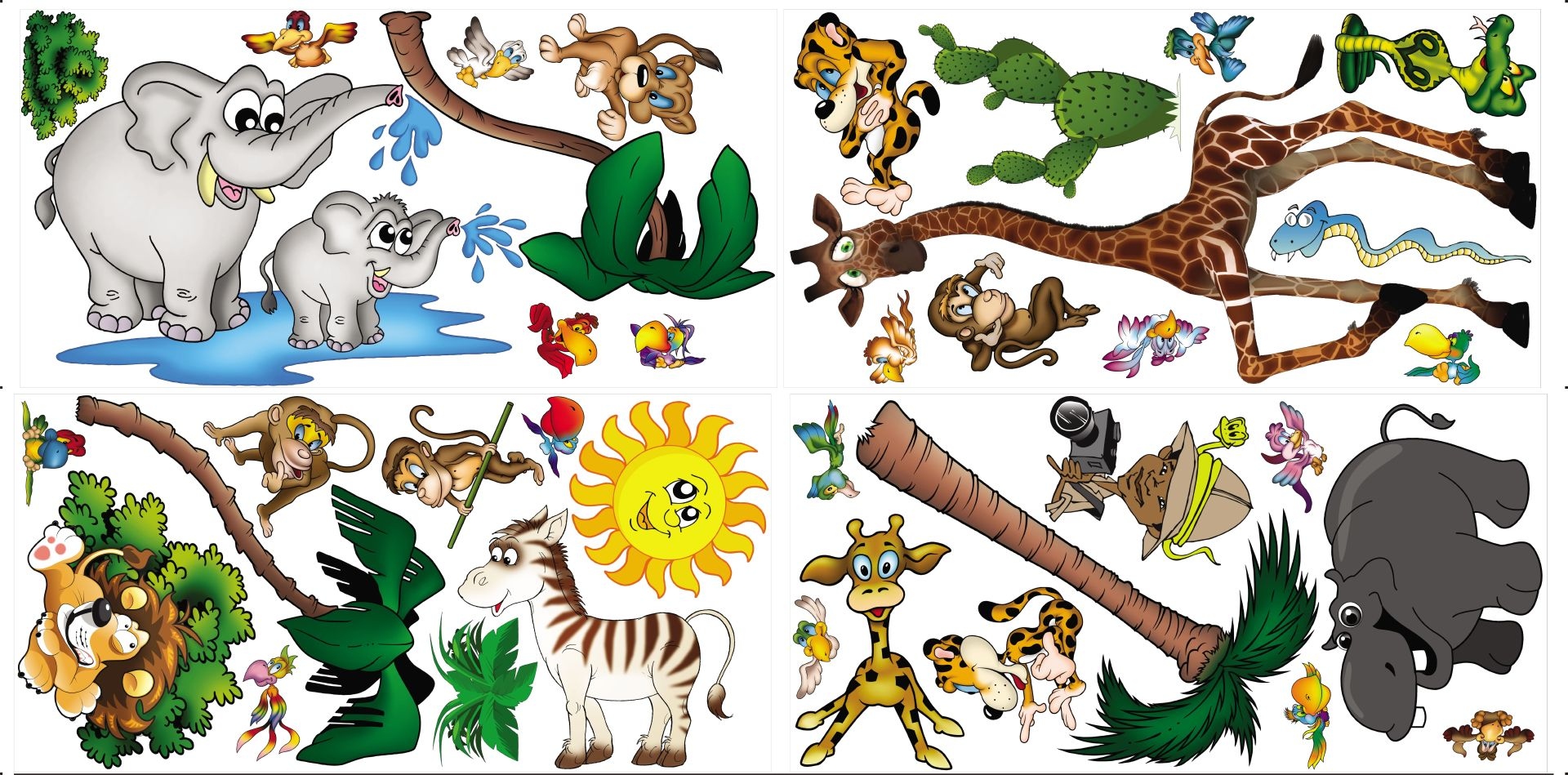 PL-Jungle-1 Jungle Animal Wall Stickers