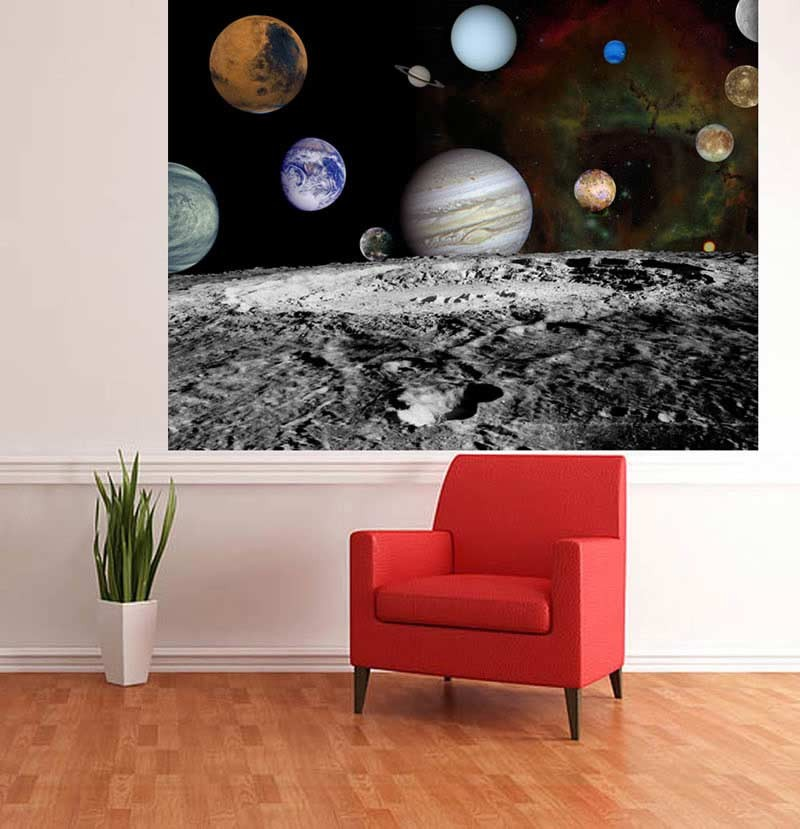 Moon & Planets wallpaper mural