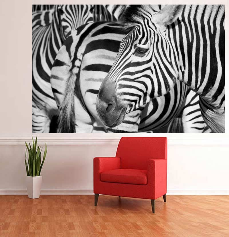 Self Adhesive Zebra wallpaper mural