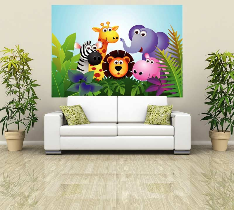 Cartoon style jungle animal wallpaper mural