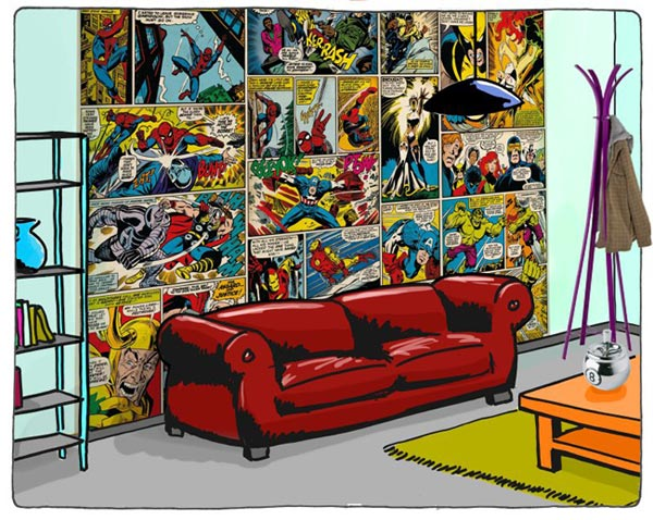 Marvel comic mural large super hero wallpaper fun decor for Comic book wallpaper mural