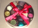 LARGE ROUND BOX OF LUXURY BELGIAN CHOCOLATES